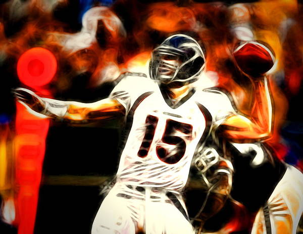 Tim Tebow Poster featuring the painting Tebow by Paul Van Scott