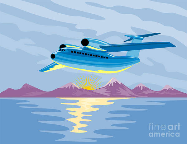 Commercial Poster featuring the digital art Turbo Jet Plane Retro by Aloysius Patrimonio