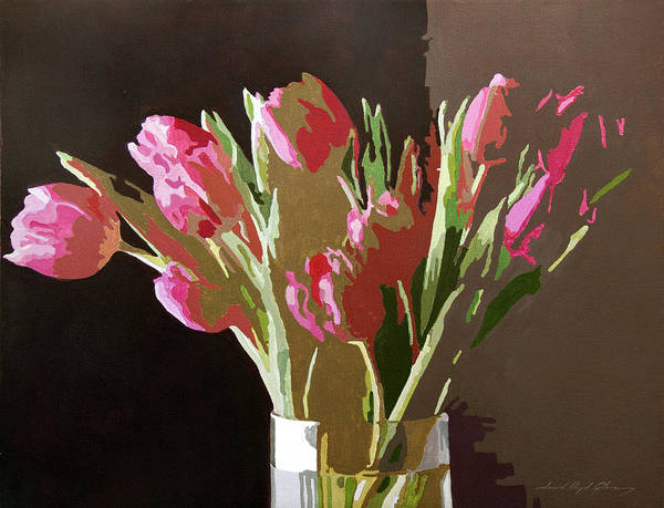Florals Poster featuring the painting Pink Tulips In Glass by David Lloyd Glover