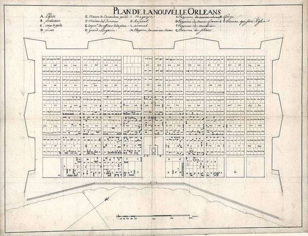 History Poster featuring the photograph 1722 Plan Of New Orleans, The Area That by Everett