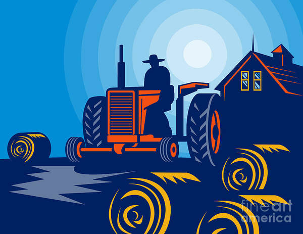 Tractor Poster featuring the digital art Farmer Driving Vintage Tractor by Aloysius Patrimonio