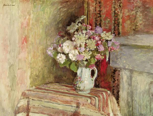 Fleurs Dans Un Vase; Interior; Bouquet; Vase; Arrangement; Still Life; Table; Roses; Lilac; Nabis; Post-impressionist; Interior Poster featuring the painting Flowers In A Vase by Edouard Vuillard