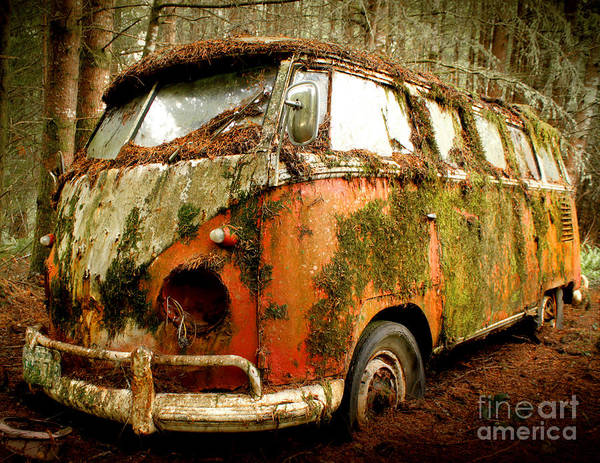 23 Window Poster featuring the photograph Moss Covered 23 Window Bus by Michael David Sorensen