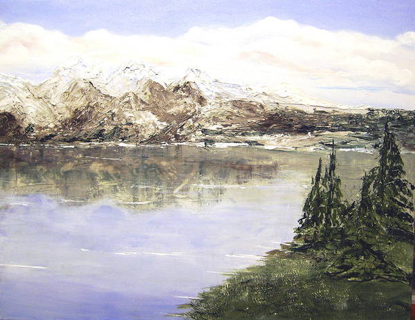 Landscape Poster featuring the painting Mountain Majesty by Terry Honstead