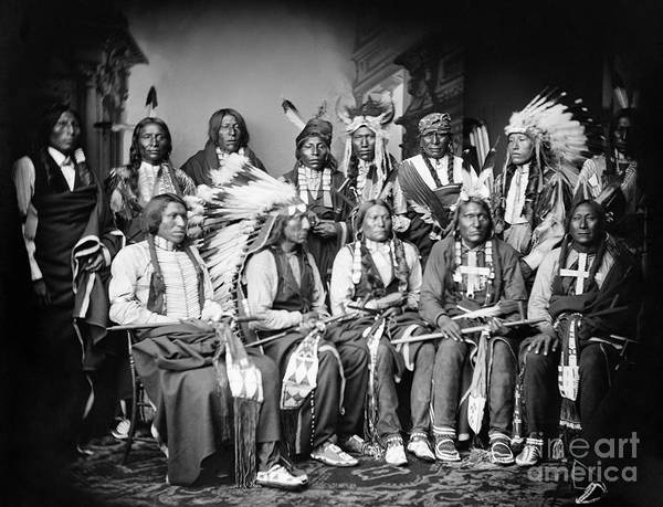 1877 Poster featuring the photograph Native American Delegation, 1877 by Granger