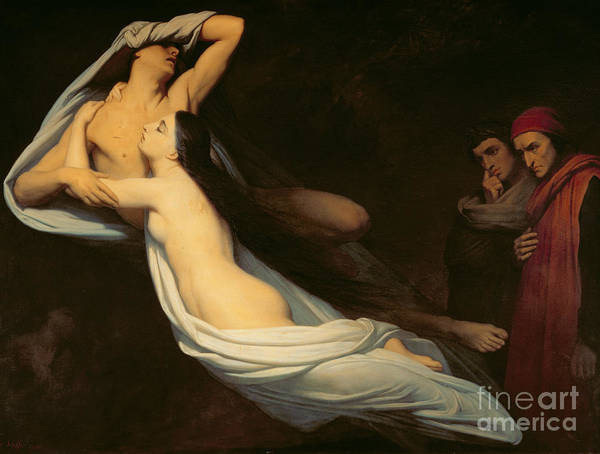 The Figures Of Francesca Da Rimini And Paolo Da Verrucchio Appear To Dante And Virgil Poster featuring the painting The Figures Of Francesca Da Rimini And Paolo Da Verrucchio Appear To Dante And Virgil by Ary Scheffer