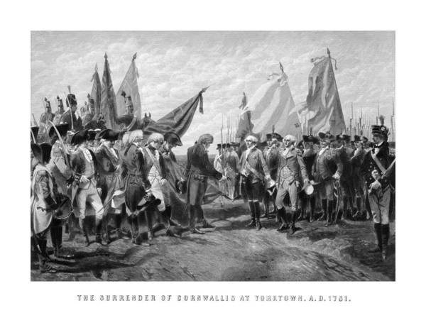 George Washington Poster featuring the drawing The Surrender Of Cornwallis At Yorktown by War Is Hell Store