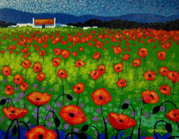 Landscape Poster featuring the painting Poppy Field by John Nolan