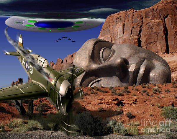 Ufo Poster featuring the digital art Battle For The Ancient Face by Keith Dillon