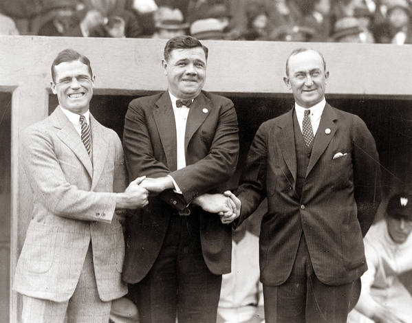 George Sisler Babe Ruth Ty Cobb Poster featuring the photograph George Sisler Babe Ruth Ty Cobb by Unknown