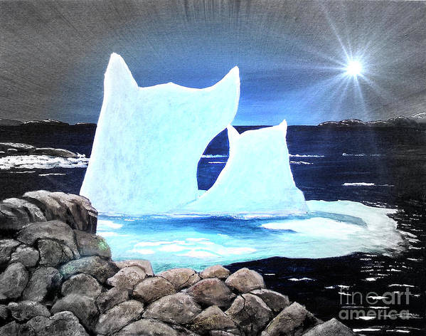 Icebergs At Sunset Poster featuring the painting Icebergs At Sunset by Barbara Griffin