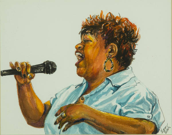 Jazz Singer Poster featuring the painting Jazz Singer by Sharon Sorrels