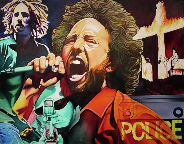 Zack De La Rocha Poster featuring the painting Killing In The Name by Joshua Morton