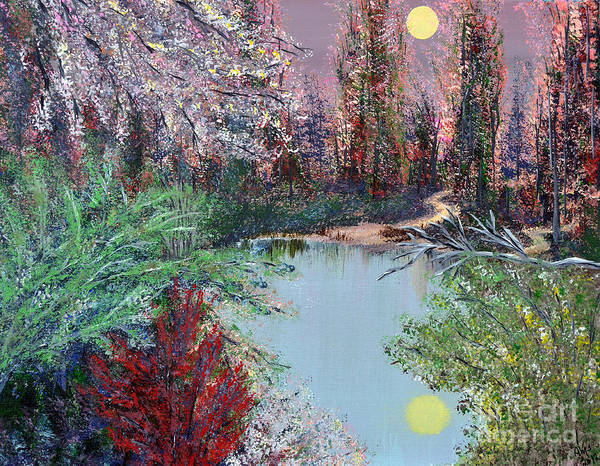 Lake Poster featuring the painting Lake Tranquility by Alys Caviness-Gober