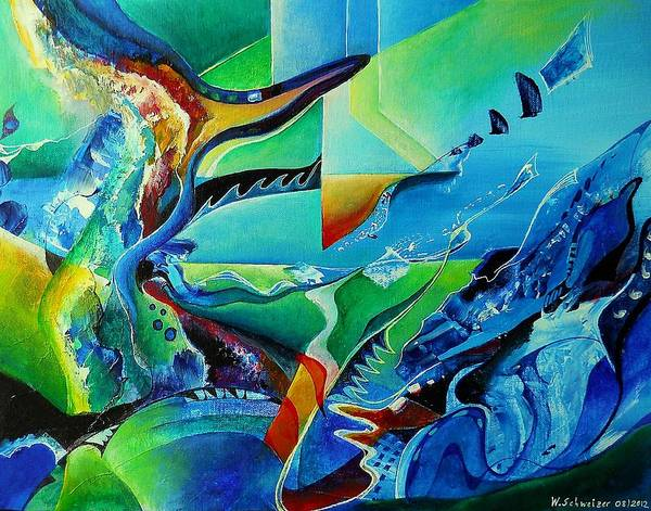 Abstract Acrylic Poster featuring the painting mindscape no.2-Improvisation Saxophone and Piano by Wolfgang Schweizer