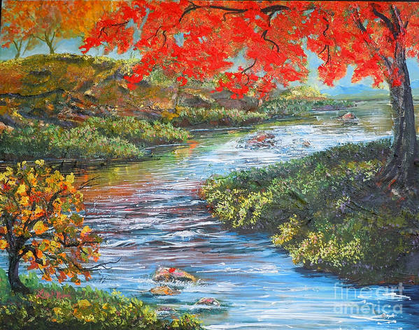 Nixon Poster featuring the painting Nixon's Brilliant View Of Fall Alongside The Rapidan River by Lee Nixon