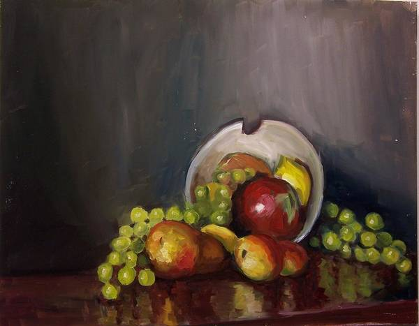 Still Poster featuring the painting Plate With Fruit by Nicolas Bouteneff