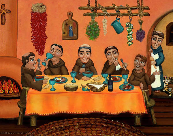 Hispanic Art Poster featuring the painting San Pascuals Table by Victoria De Almeida