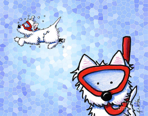 Snorkel Westies Poster featuring the drawing Snorkel Westies Mosaic Ocean by Kim Niles