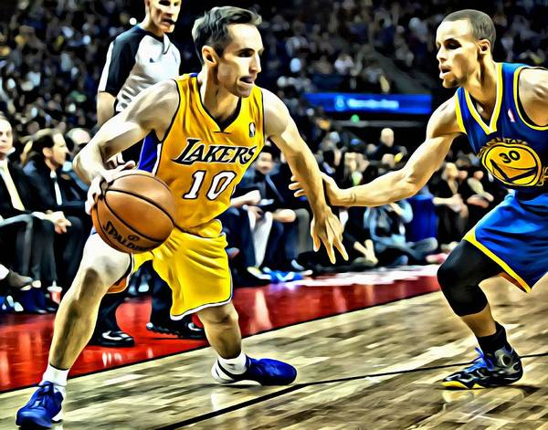 National Poster featuring the painting Steve Nash In Action by Florian Rodarte