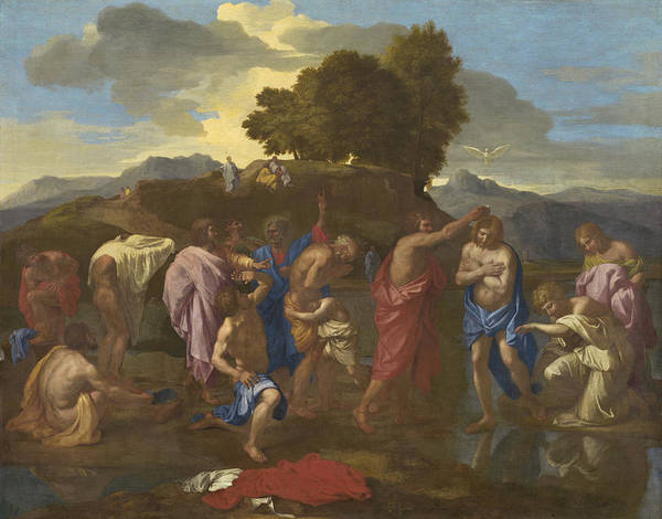 Jesus; Christ; Crucifix; Staff; St; John; Baptist; Saint; Baptising; River; Jordan; Dove; Holy; Spirit; Holy; Ghost; Baroque; Neo; Classical; Landscape Poster featuring the painting The Baptism Of Christ by Nicolas Poussin