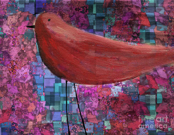 Red Poster featuring the painting The Bird - 23a01a by Variance Collections