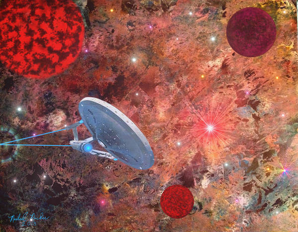 Star Trek Poster featuring the painting U.s.s Enterprise -orion by Michael Rucker