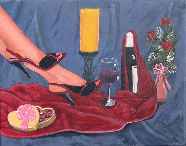 Red Romance Wine Bottle Candy Candle Stand Nightgown Ladies Shoes Sensual Feet Women Cloth Flowers Roses Baby's Breath Valentine Day Card Romantic Love Wine Glass Floral Arrangement Vase Of Flowers Red Toenails Blue Cloth Art Prints On Canvas Work Of Art Fine Art Work Colorful Acrylic Paintings Landscape Paintings For Sale Buy Art Wall Art Canvas Artist Canvas Paintings For Sale Paintings Acrylic Paintings On Canvas Poster featuring the painting Valentine's Day by Pete Souza