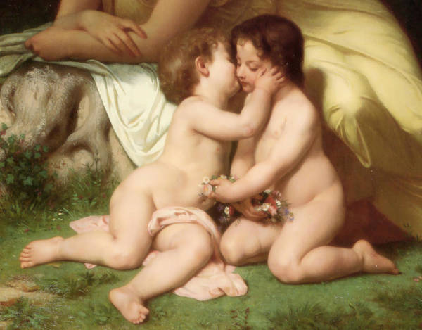 Young Woman Contemplating Two Embracing Children Detail Poster featuring the digital art Young Woman Contemplating Two Embracing Children Detail by William Bouguereau