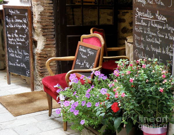 Chair Poster featuring the photograph A French Restaurant Greeting by Lainie Wrightson