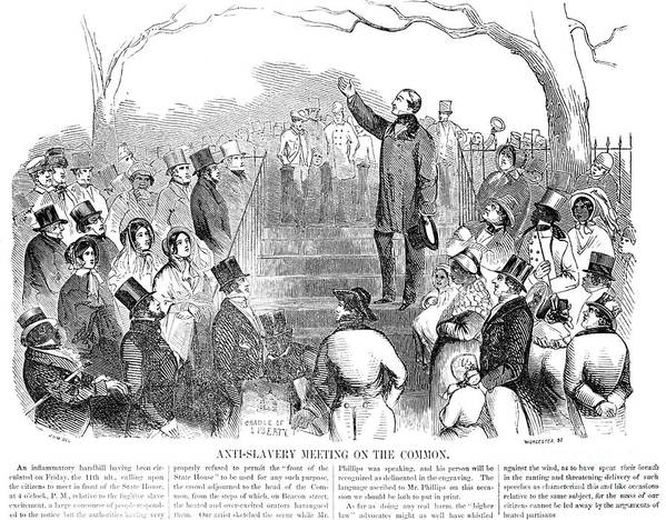 1851 Poster featuring the photograph Abolition: Phillips, 1851 by Granger