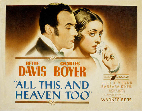 1940 Movies Poster featuring the photograph All This And Heaven Too, Charles Boyer by Everett