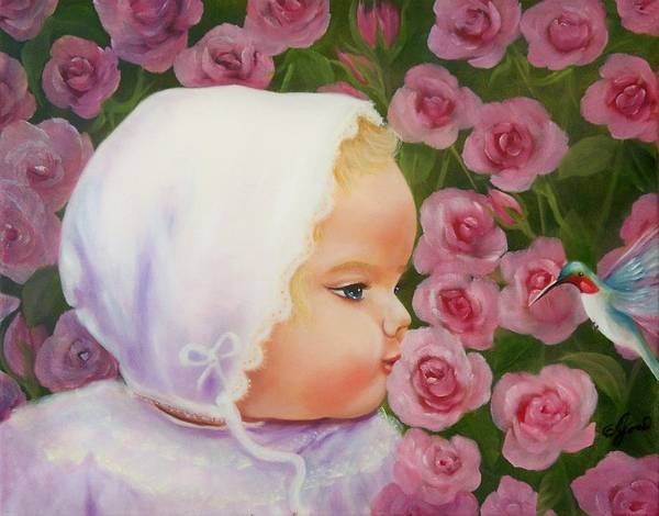 Baby Poster featuring the painting Baby Meets Hummingbird by Joni McPherson
