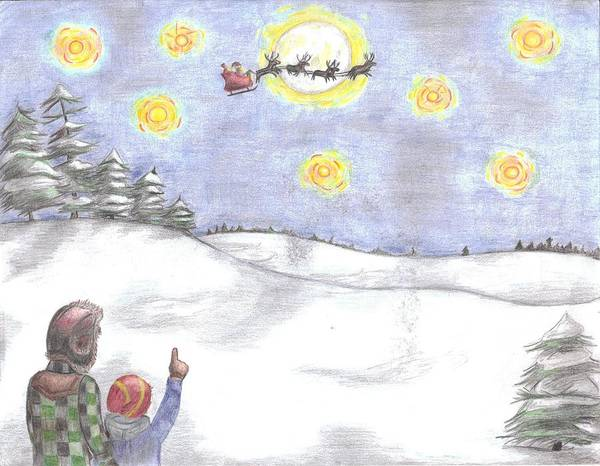 Santa Poster featuring the drawing Christmas Eve by Joanna Howell