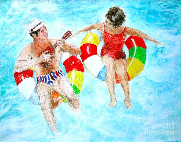 Prismacolors Poster featuring the drawing Pool by Beth Saffer