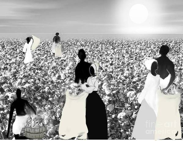 Black History Poster featuring the digital art Slaves Picking Cotton by Belinda Threeths