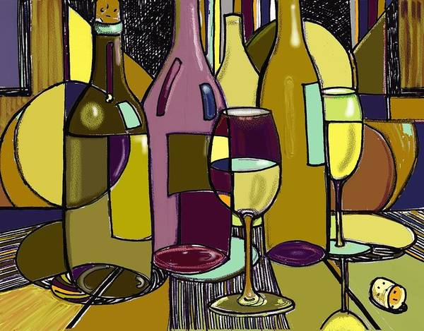 Wine Bottles Poster featuring the drawing Wine Bottle Deco by Peggy Wilson