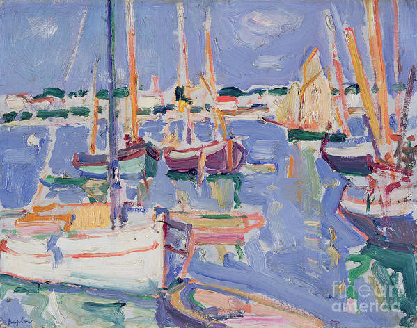 Boats Poster featuring the painting Boats At Royan by Samuel John Peploe