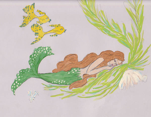 Mermaid Poster featuring the drawing Dreaming Mermaid by Rosalie Scanlon