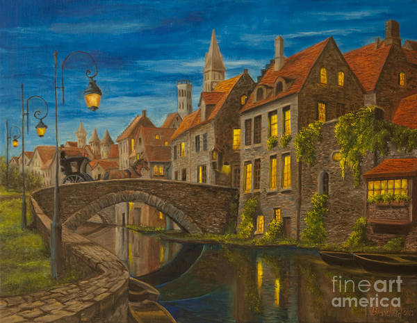 Bruges Belgium Art Poster featuring the painting Evening In Brugge by Charlotte Blanchard