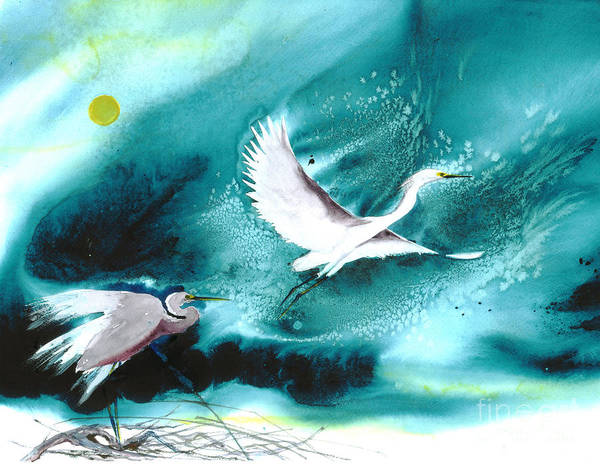 A Pair Of Egrets By The Water At Night- A Watercolor Painting Poster featuring the painting Fairies by Mui-Joo Wee