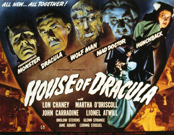 1940s Movies Poster featuring the photograph House Of Dracula, Glenn Strange, John by Everett