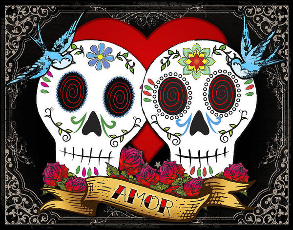 Sugar Skull Poster featuring the drawing Love Skulls II by Tammy Wetzel