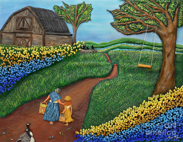 Barn Poster featuring the mixed media Road To Maple by Anne Klar