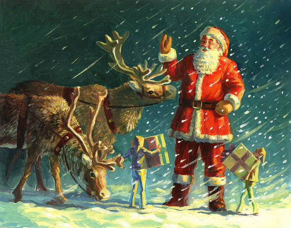 Santa Poster featuring the painting Santas And Elves by David Price