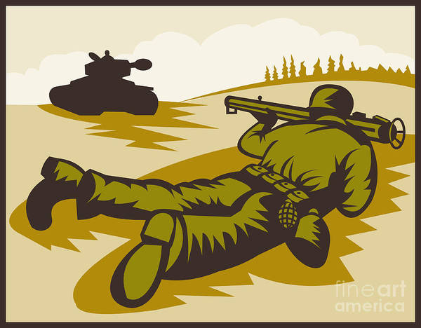Bazooka Poster featuring the digital art Soldier Aiming Bazooka by Aloysius Patrimonio