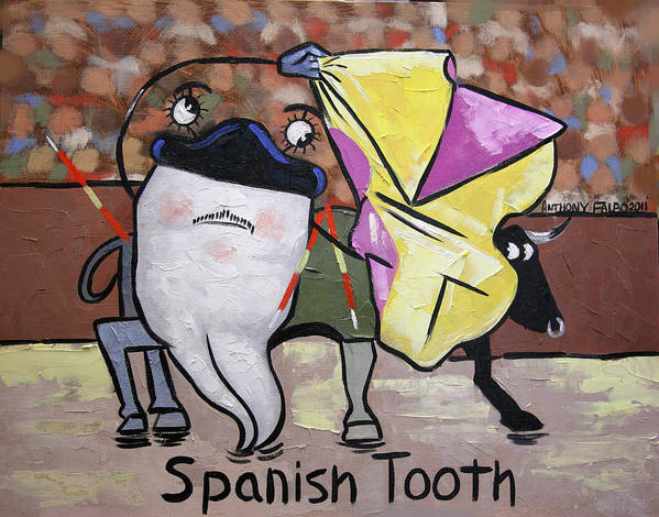 Poster Collectable Dental Art Prints Printed On Fine Art Paper Giclee Prints Fine Art Canvas Dentist Art Bleached Teeth Anthony Falbo Falboart Cubist Cubism Cubestraction Orange Blue Yellow Digital Beautiful Poster featuring the painting Spanish Tooth by Anthony Falbo