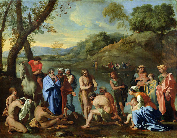 John Poster featuring the painting St John Baptising The People by Nicolas Poussin