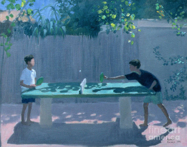 Ping Pong Poster featuring the painting Table Tennis by Andrew Macara