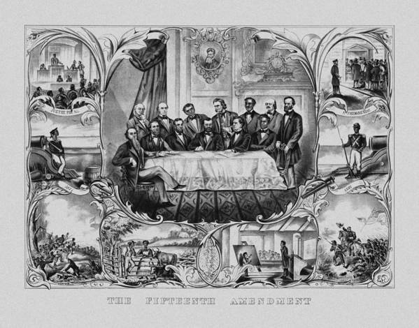 15th Amendment Poster featuring the drawing The Fifteenth Amendment by War Is Hell Store